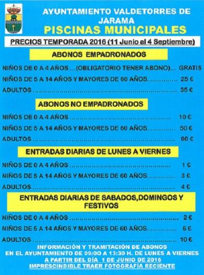 Piscinas municipales de valdetorres de jarama precios for Piscinas municipales madrid 2016