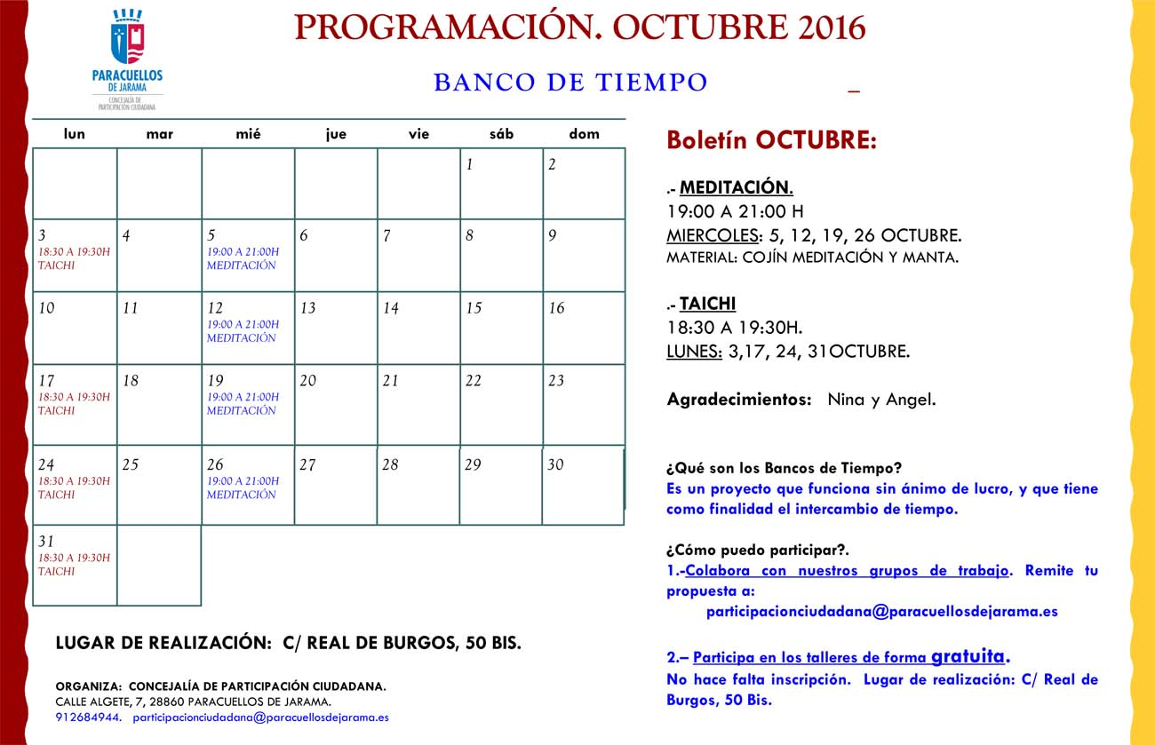 En octubre regresan las actividades del banco del tiempo - El tiempo en paracuellos del jarama ...